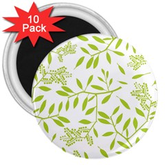 Leaves Pattern Seamless 3  Magnets (10 pack)