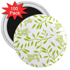 Leaves Pattern Seamless 3  Magnets (100 pack)