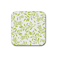 Leaves Pattern Seamless Rubber Square Coaster (4 pack)