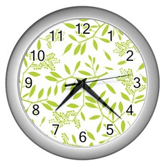Leaves Pattern Seamless Wall Clocks (Silver)