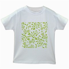 Leaves Pattern Seamless Kids White T-Shirts
