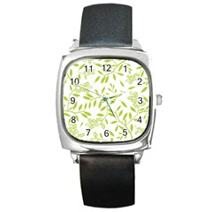 Leaves Pattern Seamless Square Metal Watch
