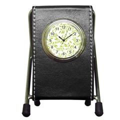 Leaves Pattern Seamless Pen Holder Desk Clocks