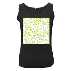 Leaves Pattern Seamless Women s Black Tank Top