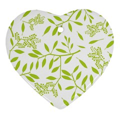 Leaves Pattern Seamless Heart Ornament (two Sides)