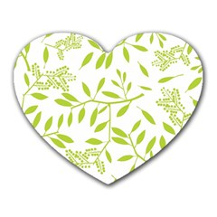 Leaves Pattern Seamless Heart Mousepads