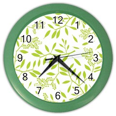 Leaves Pattern Seamless Color Wall Clocks