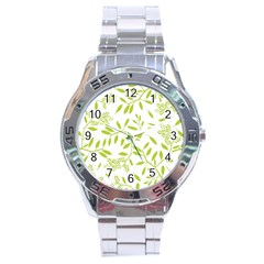Leaves Pattern Seamless Stainless Steel Analogue Watch