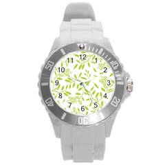 Leaves Pattern Seamless Round Plastic Sport Watch (L)