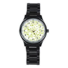 Leaves Pattern Seamless Stainless Steel Round Watch