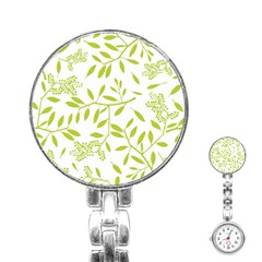 Leaves Pattern Seamless Stainless Steel Nurses Watch
