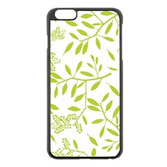 Leaves Pattern Seamless Apple iPhone 6 Plus/6S Plus Black Enamel Case
