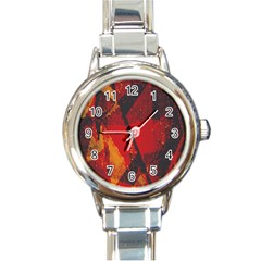 Surface Line Pattern Red Round Italian Charm Watch