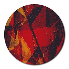 Surface Line Pattern Red Round Mousepads