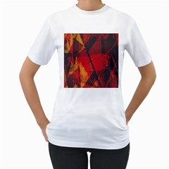 Surface Line Pattern Red Women s T-Shirt (White) (Two Sided)