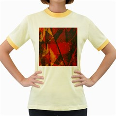 Surface Line Pattern Red Women s Fitted Ringer T Shirts