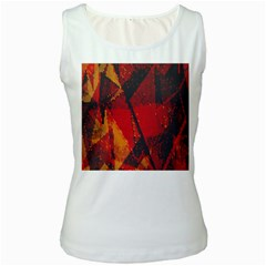 Surface Line Pattern Red Women s White Tank Top