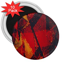 Surface Line Pattern Red 3  Magnets (10 Pack)