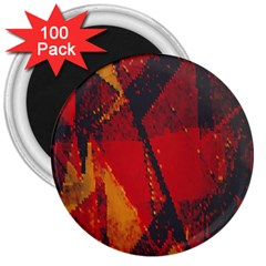 Surface Line Pattern Red 3  Magnets (100 pack)