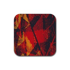 Surface Line Pattern Red Rubber Coaster (Square)