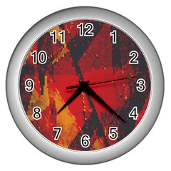 Surface Line Pattern Red Wall Clocks (silver)