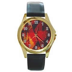 Surface Line Pattern Red Round Gold Metal Watch