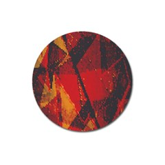 Surface Line Pattern Red Magnet 3  (round)