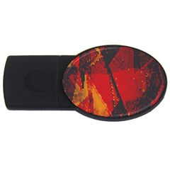 Surface Line Pattern Red USB Flash Drive Oval (1 GB)