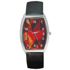 Surface Line Pattern Red Barrel Style Metal Watch