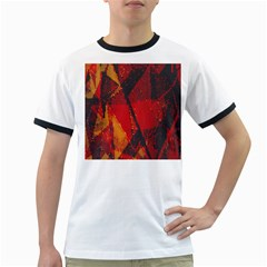 Surface Line Pattern Red Ringer T-Shirts