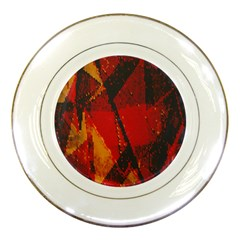 Surface Line Pattern Red Porcelain Plates