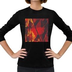 Surface Line Pattern Red Women s Long Sleeve Dark T-Shirts