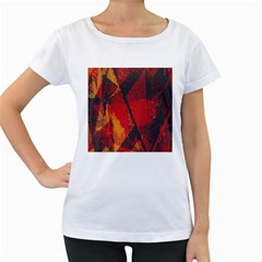 Surface Line Pattern Red Women s Loose-Fit T-Shirt (White)