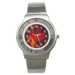 Surface Line Pattern Red Stainless Steel Watch