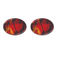 Surface Line Pattern Red Cufflinks (oval)