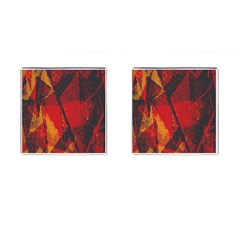 Surface Line Pattern Red Cufflinks (square)