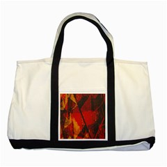Surface Line Pattern Red Two Tone Tote Bag