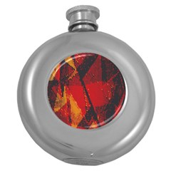 Surface Line Pattern Red Round Hip Flask (5 oz)
