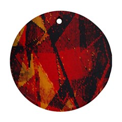 Surface Line Pattern Red Round Ornament (Two Sides)