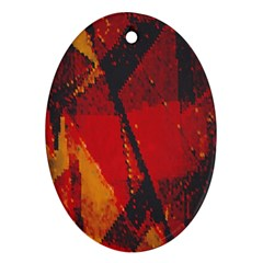 Surface Line Pattern Red Oval Ornament (Two Sides)