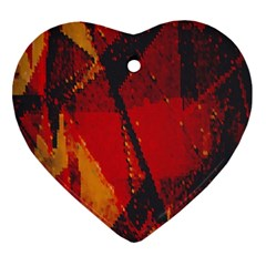 Surface Line Pattern Red Heart Ornament (two Sides)
