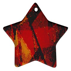 Surface Line Pattern Red Star Ornament (Two Sides)