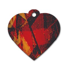 Surface Line Pattern Red Dog Tag Heart (Two Sides)