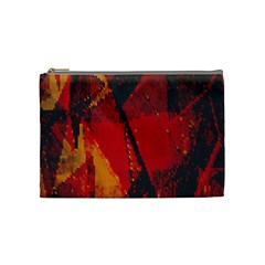 Surface Line Pattern Red Cosmetic Bag (medium)
