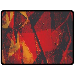 Surface Line Pattern Red Fleece Blanket (Large)