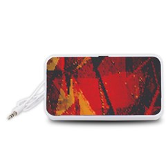 Surface Line Pattern Red Portable Speaker (White)