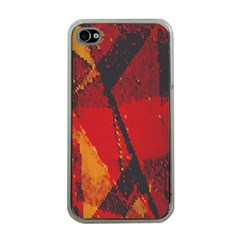 Surface Line Pattern Red Apple iPhone 4 Case (Clear)
