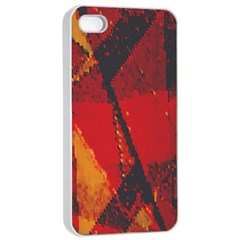 Surface Line Pattern Red Apple Iphone 4/4s Seamless Case (white)