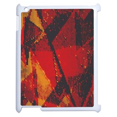 Surface Line Pattern Red Apple iPad 2 Case (White)