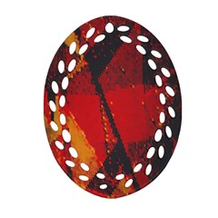 Surface Line Pattern Red Oval Filigree Ornament (Two Sides)